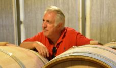 Vassilis in his barrel cellar (photo: E. Lebel/oenopole)